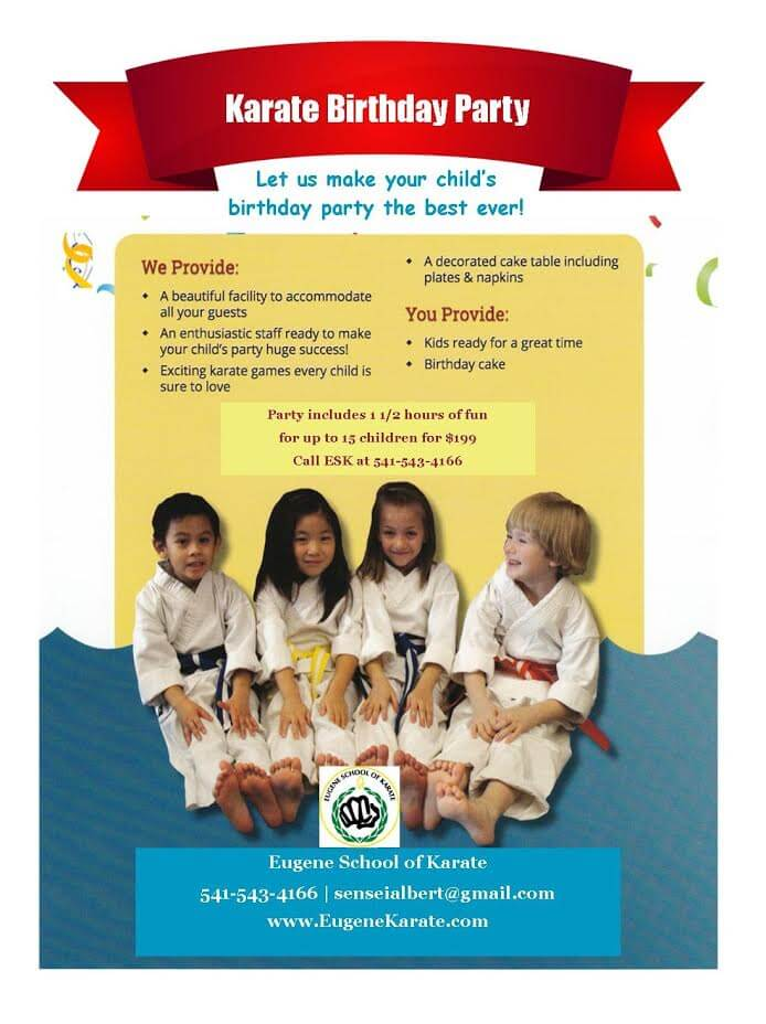 Eugene School of Karate birthday party flyer