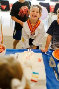 Young girl having an amazing birthday at Eugene School of Karate