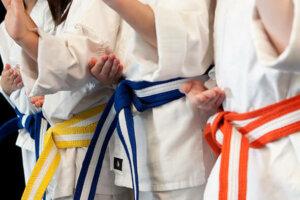 Yellow, blue, and orange belt